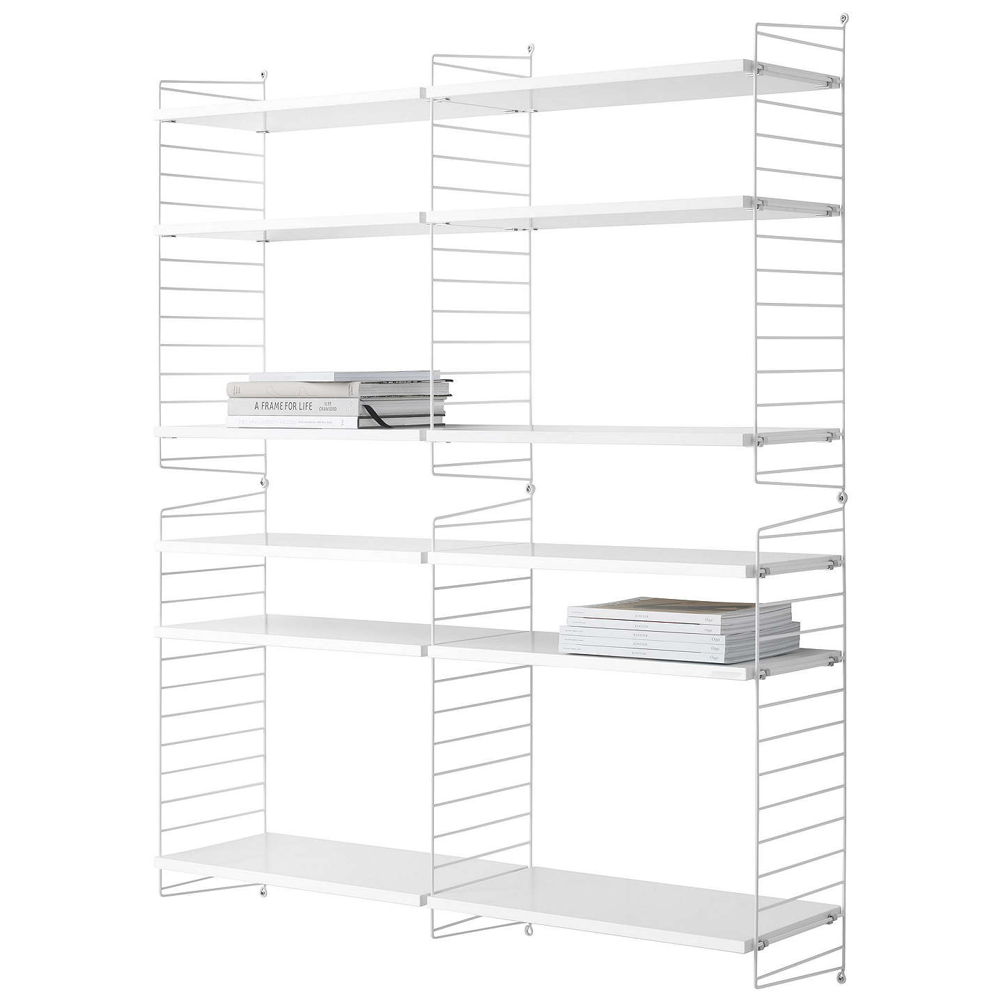 string Shelving Unit and Wall Fastened Side Racks White at