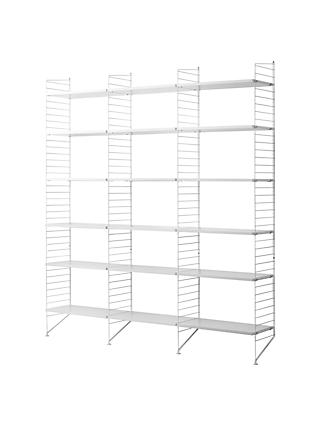 string Triple Shelving Unit and Wall Fastened Side Racks, White