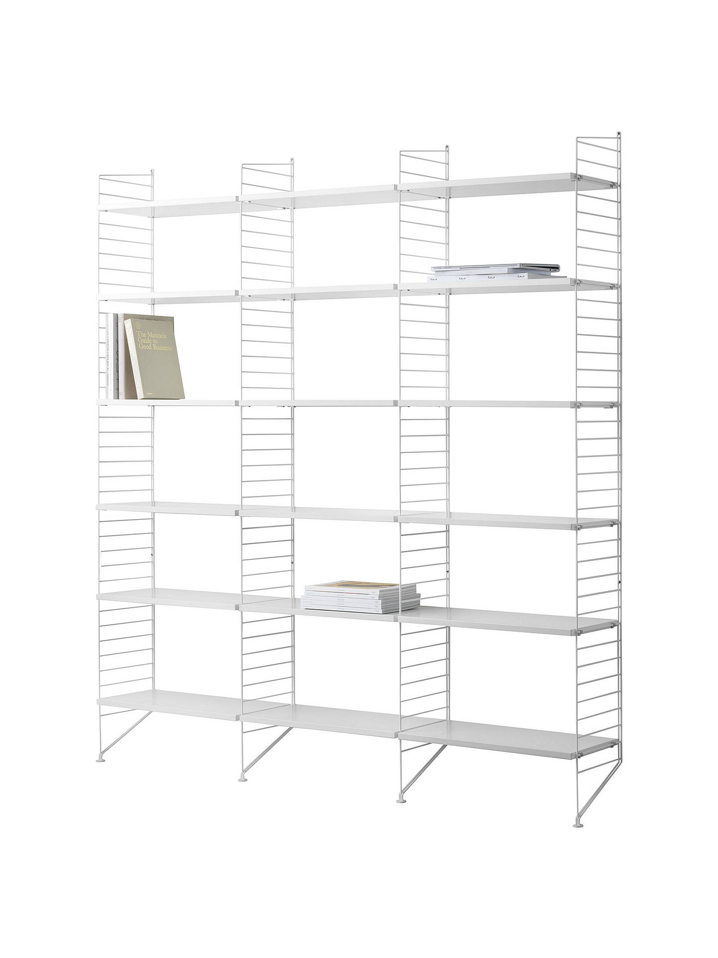 Buy string Triple Shelving Unit and Wall Fastened Side Racks, White Online at johnlewis.com