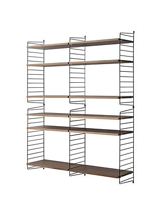 string Large Shelving Unit with Wall Fastened Side Racks, Walnut/Black