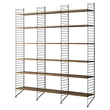 Buy string Triple Shelving Unit, Floor Fastened, Walnut / Black Online at johnlewis.com