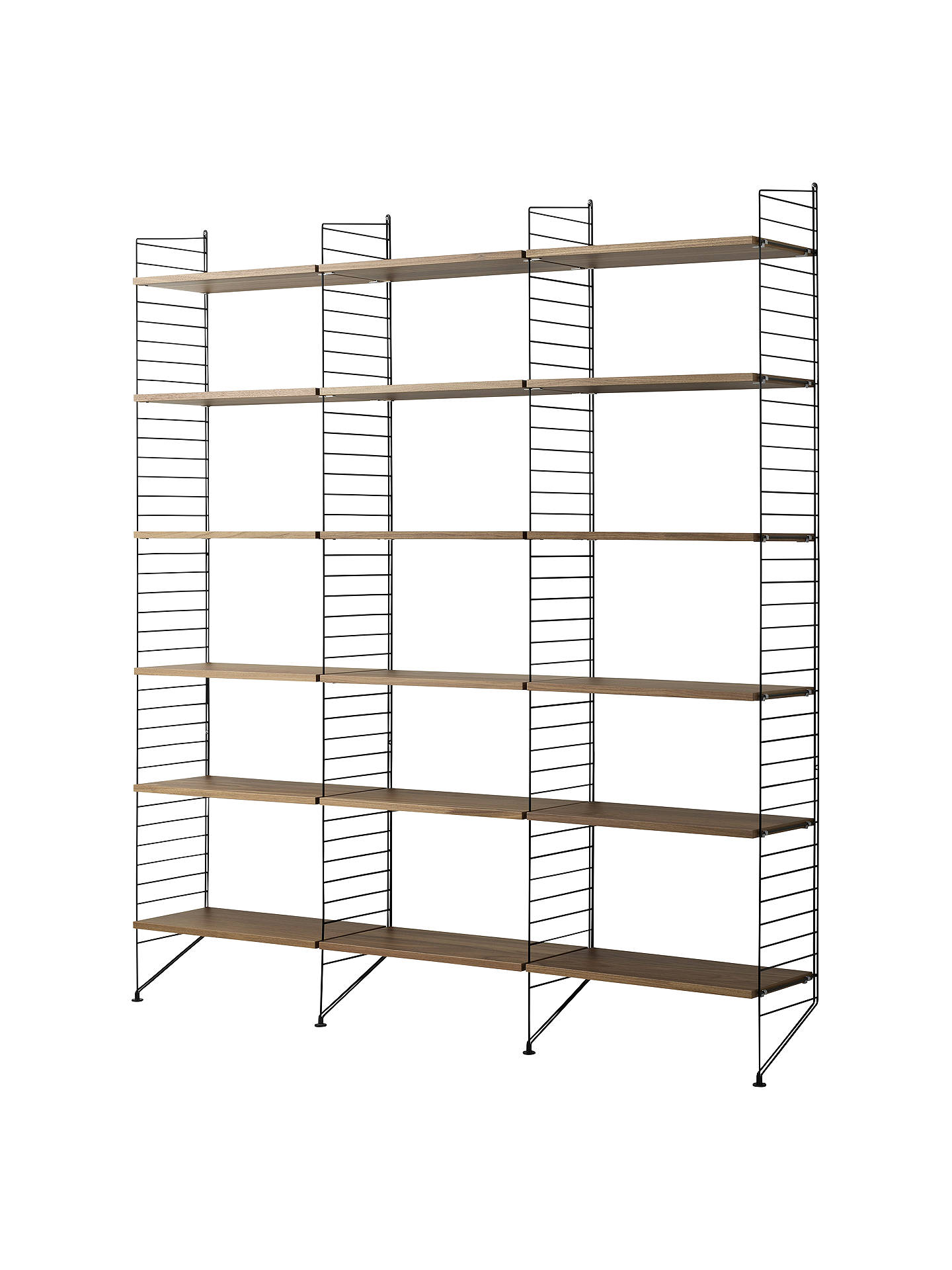 Buy string Triple Shelving Unit and Wall Fastened Side Racks, Walnut/Black Online at johnlewis.com