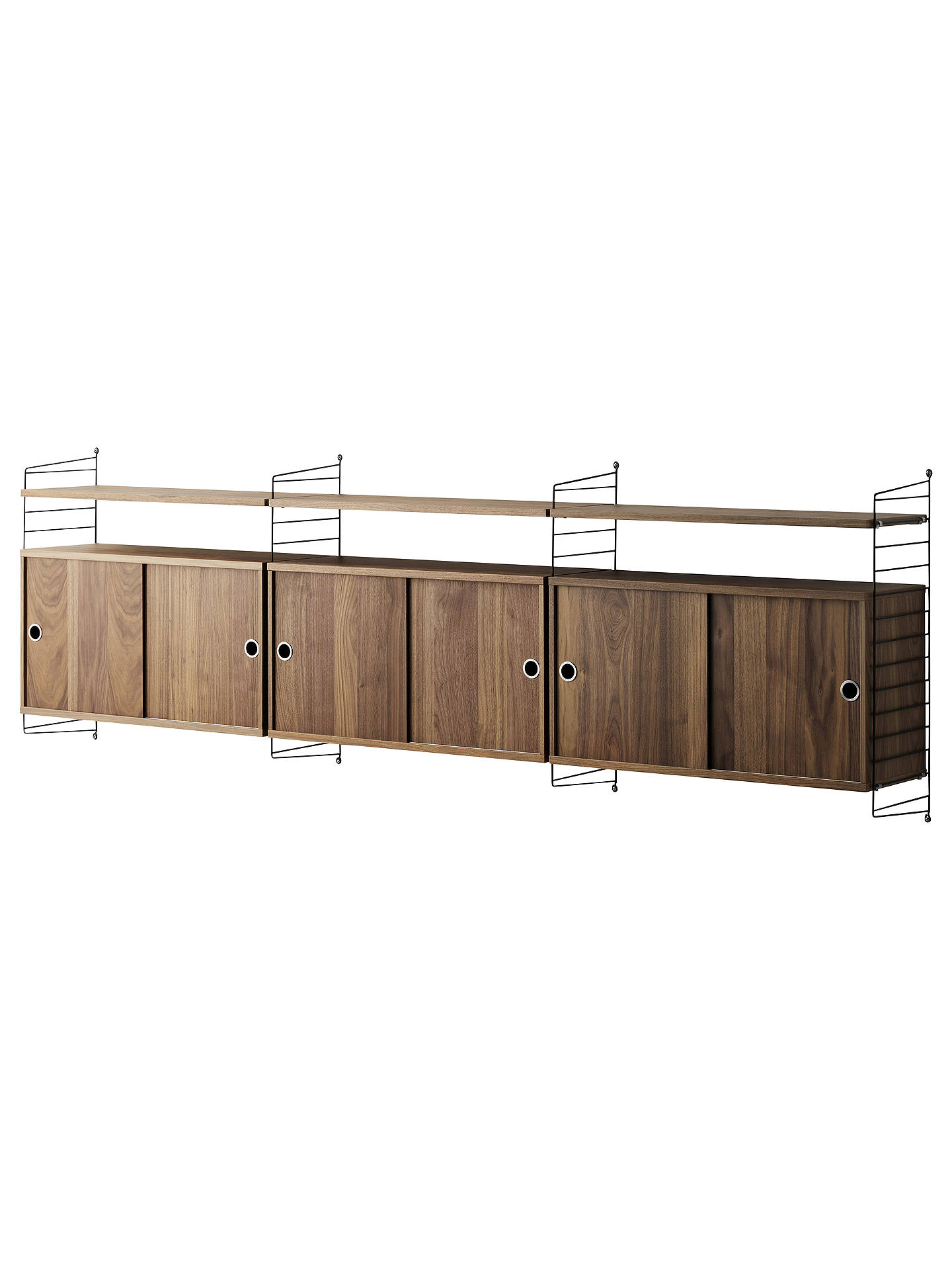 Buystring Triple Cabinet with Shelves and Short Wall Fastened Side Racks, Walnut/Black Online at johnlewis.com