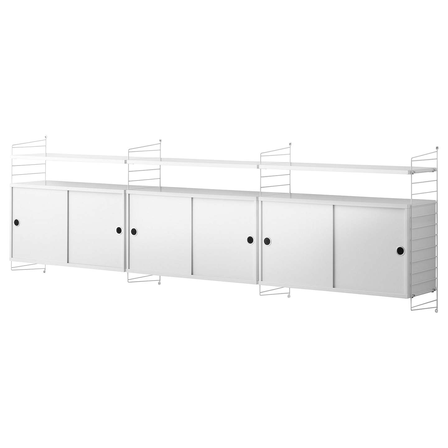 Buystring Triple Cabinet With Shelves And Short Wall Fastened Side Racks,  White Online At Johnlewis ...
