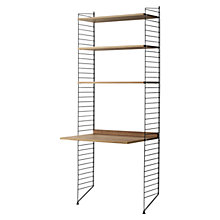 Buy string Shelving Unit with Work Desk, Floor Fastened, Walnut / Black Online at johnlewis.com