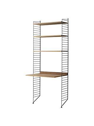string Shelving Unit with Work Desk and Wall Fastened Side Racks, Walnut/Black