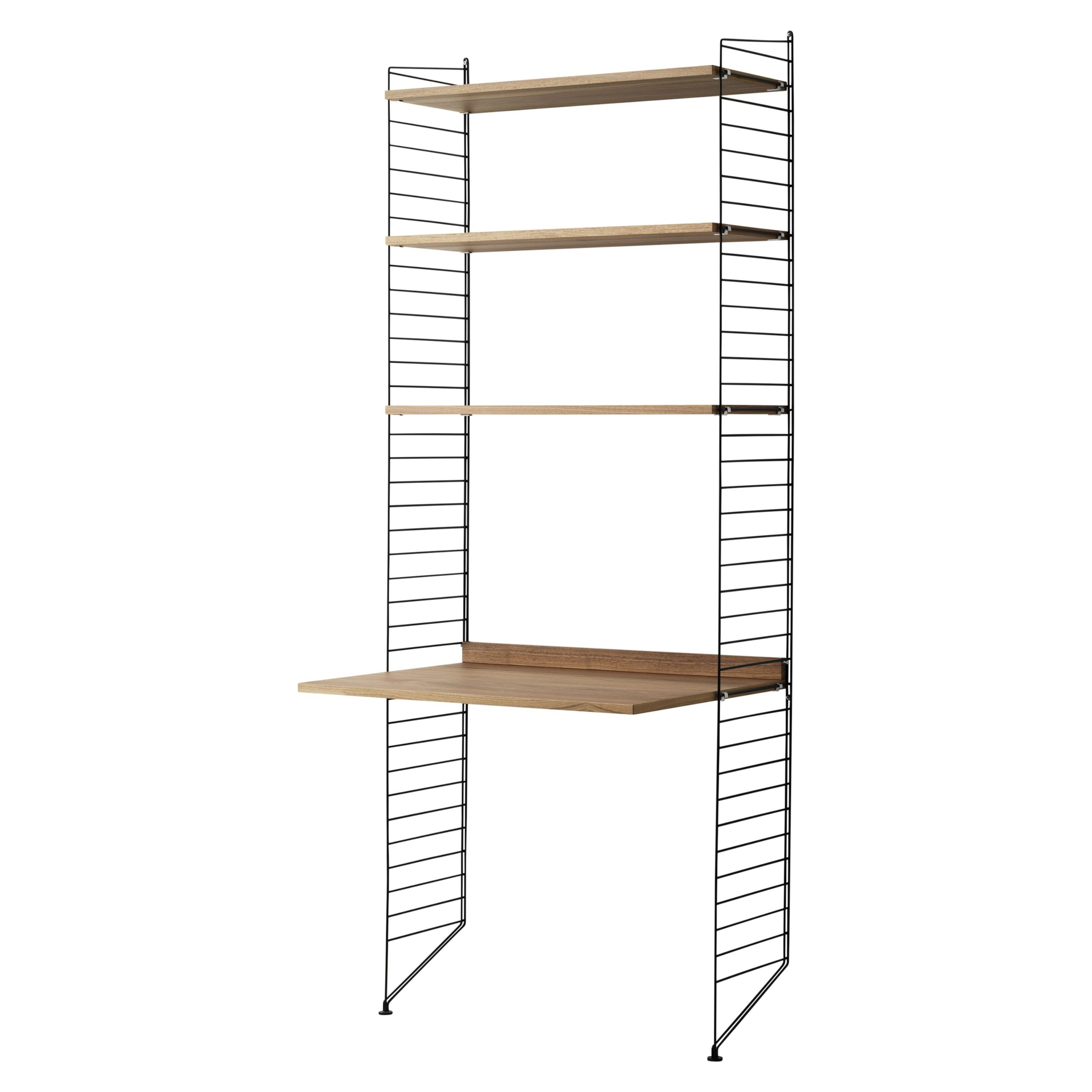String Shelving Unit With Work Desk And Wall Fastened Side Racks Walnut Black
