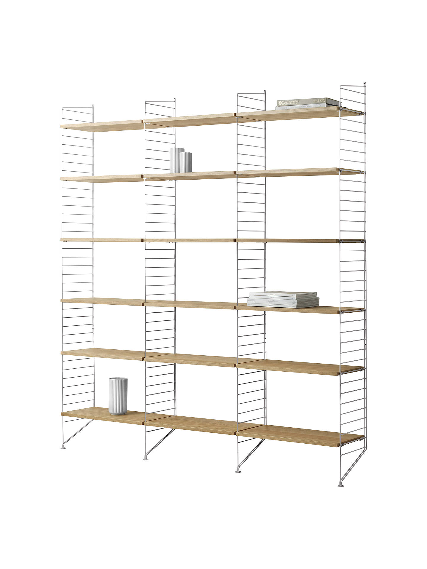 Buystring Triple Shelving Unit, Wall Fastened Side Racks, Oak/White Online at johnlewis.com