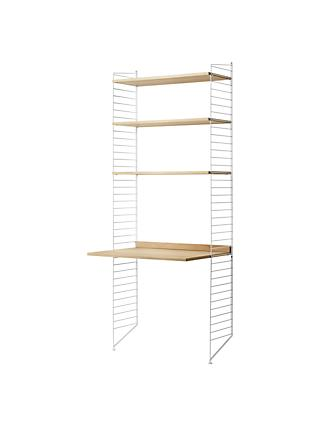 string Shelving Unit with Work Desk and Wall Fastened Side Racks, Oak/White