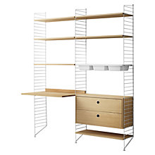 Buy string Shelving Unit with Work Desk, 2 Drawer Chest and 3 Bowl Shelf, Floor Fastened, Oak / White Online at johnlewis.com
