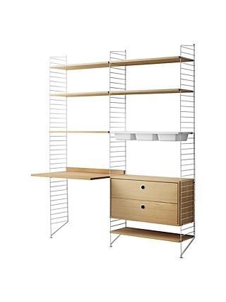 string Shelving Unit with Work Desk, 2 Drawer Chest, 3 Bowl Shelf and Wall Fastened Side Racks, Oak/White