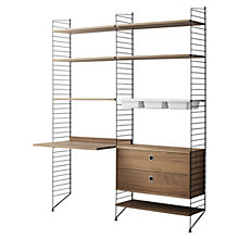 Buy string Shelving Unit with Work Desk, 2 Drawer Chest and 3 Bowl Shelf, Floor Fastened, Walnut / Black Online at johnlewis.com
