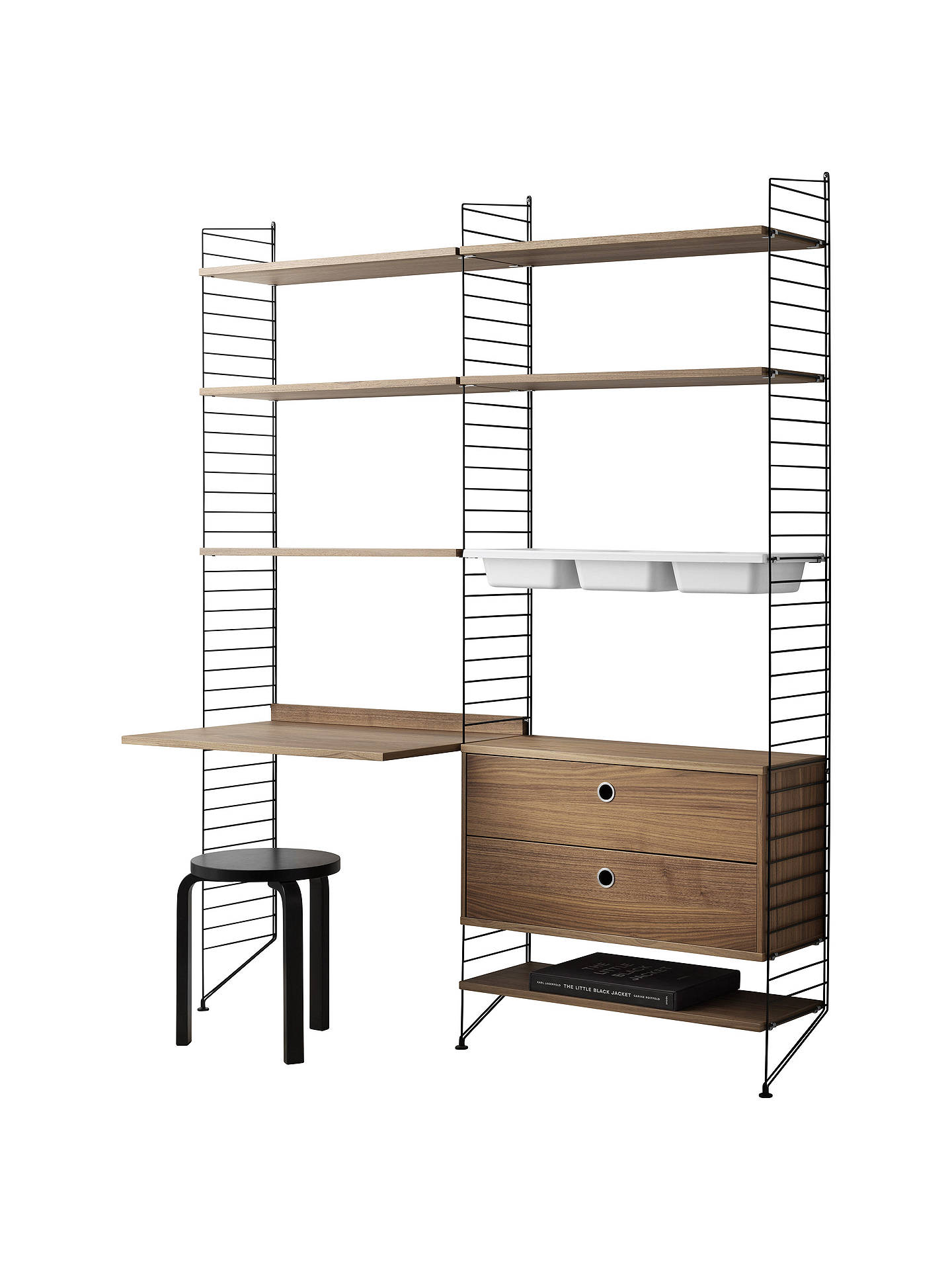 Buystring Shelving Unit with Shelves, Work Desk, 2 Drawer Chest, 3 Bowl Shelf and Wall Fastened Side Racks, Walnut/Black Online at johnlewis.com