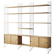 Buy string Living Room Shelving Unit with Double Cabinet, Floor Fastened, Oak / White Online at johnlewis.com