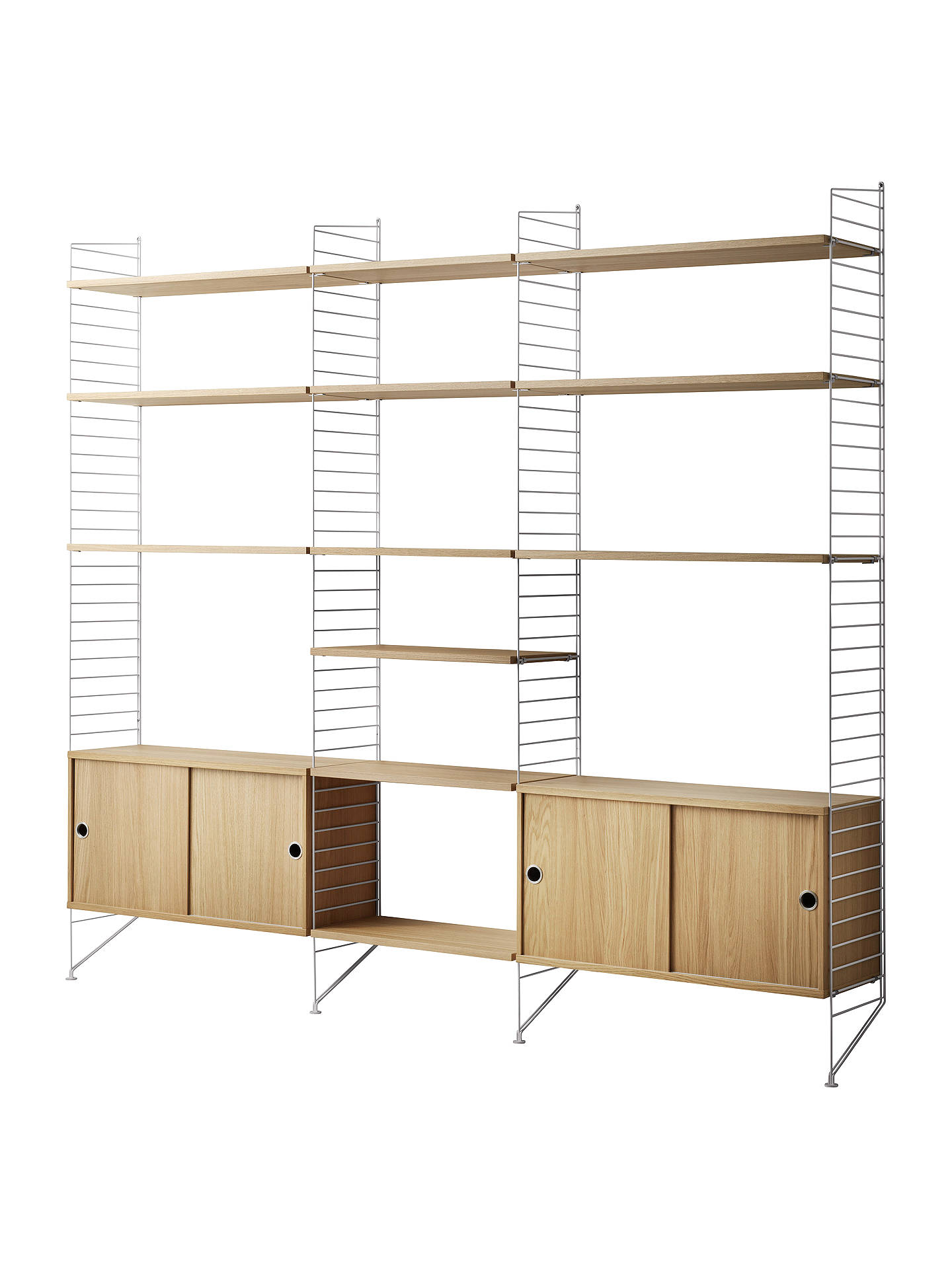 a450d5a98d4c Buy string Shelving Unit with Double Cabinet, Shelves and Wall Fastened  Side Racks, Oak ...