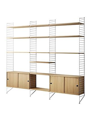 string Shelving Unit with Double Cabinet, Shelves and Wall Fastened Side Racks, Oak/White