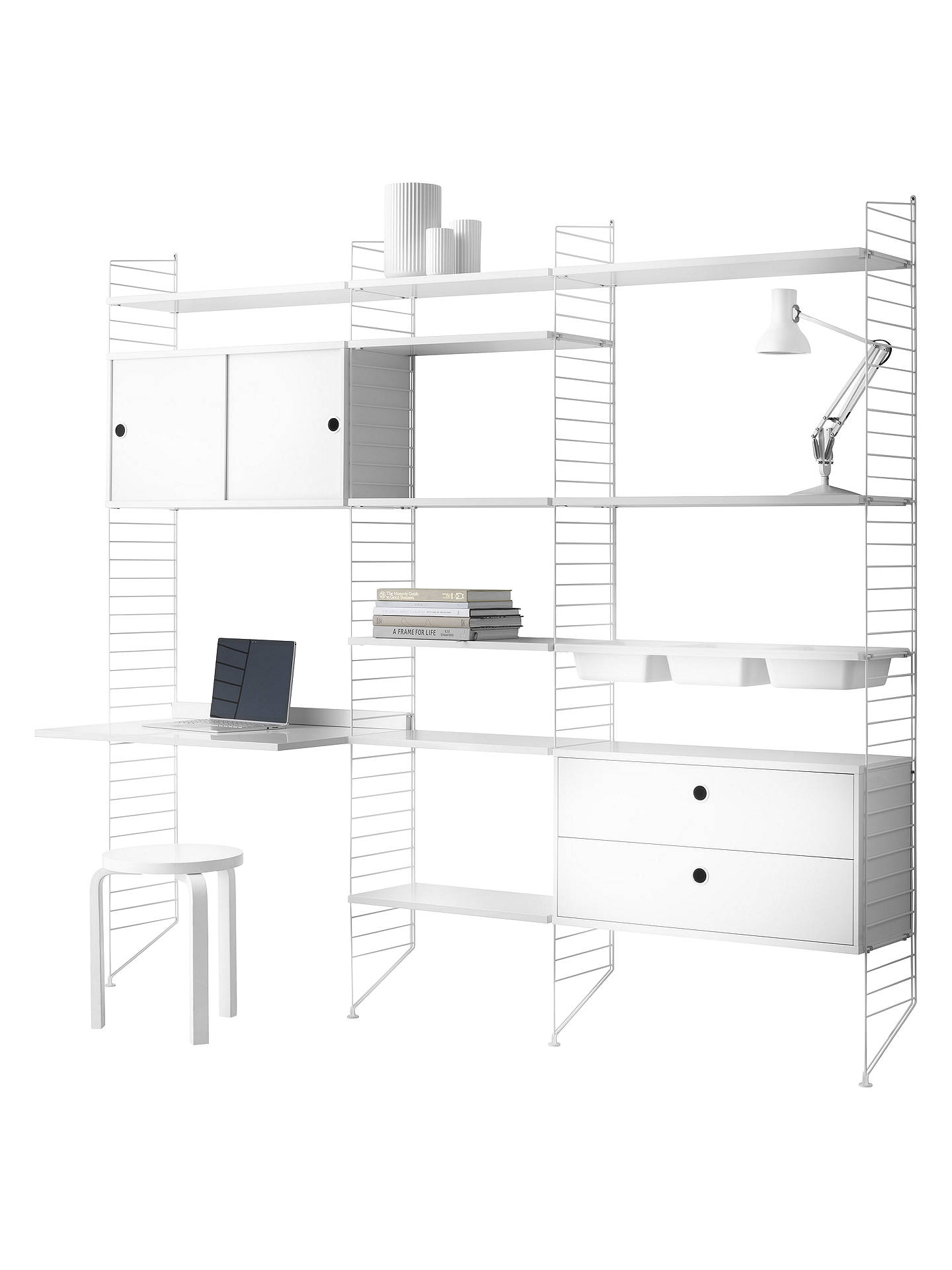Buystring Shelving Unit with Drawers, Cabinet, Work Desk, Bowl Shelves and Wall Fastened Side Racks, White Online at johnlewis.com