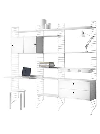 string Shelving Unit with Drawers, Cabinet, Work Desk, Bowl Shelves and Wall Fastened Side Racks, White