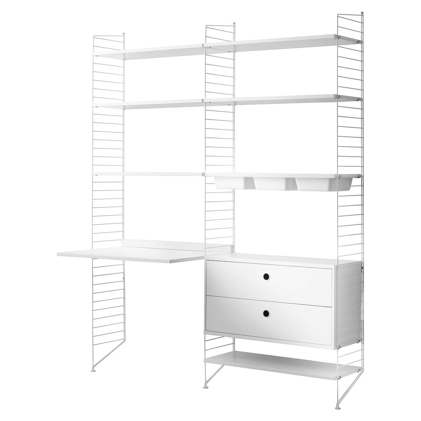 string Shelving Unit with Work Desk Shelves 2 Drawer Chest 3 Bowl