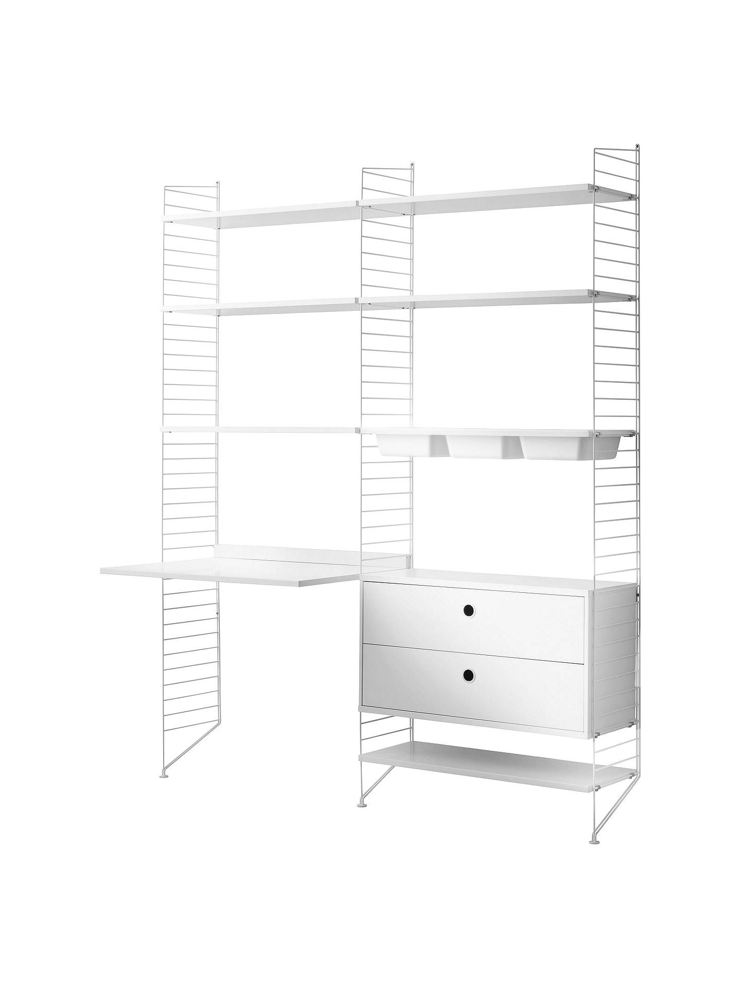 String Shelving Unit With Work Desk Shelves 2 Drawer Chest 3 Bowl Shelf And Wall Fastened Side Racks White