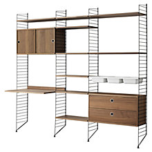 Buy string Living Room Shelving Unit with Drawers, Cabinet, Work Desk and Bowl Shelves, Floor Fastened, Walnut / Black Online at johnlewis.com