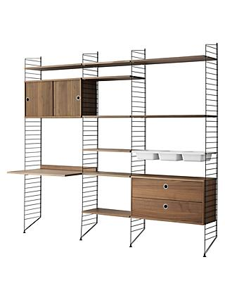 string Shelving Unit with Drawers, Cabinet, Work Desk, Bowl Shelves and Wall Fastened Side Racks, Walnut / Black