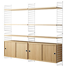 Buy string Shelving Unit with Double Cabinet, Wall Fastened, Oak / White Online at johnlewis.com