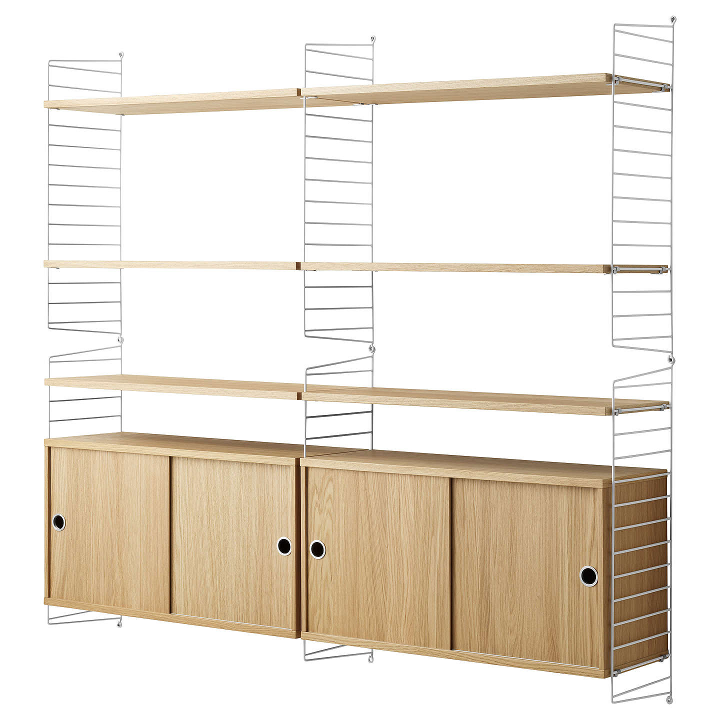 string Shelving Unit with Double Cabinet and Wall Fastened Side ...