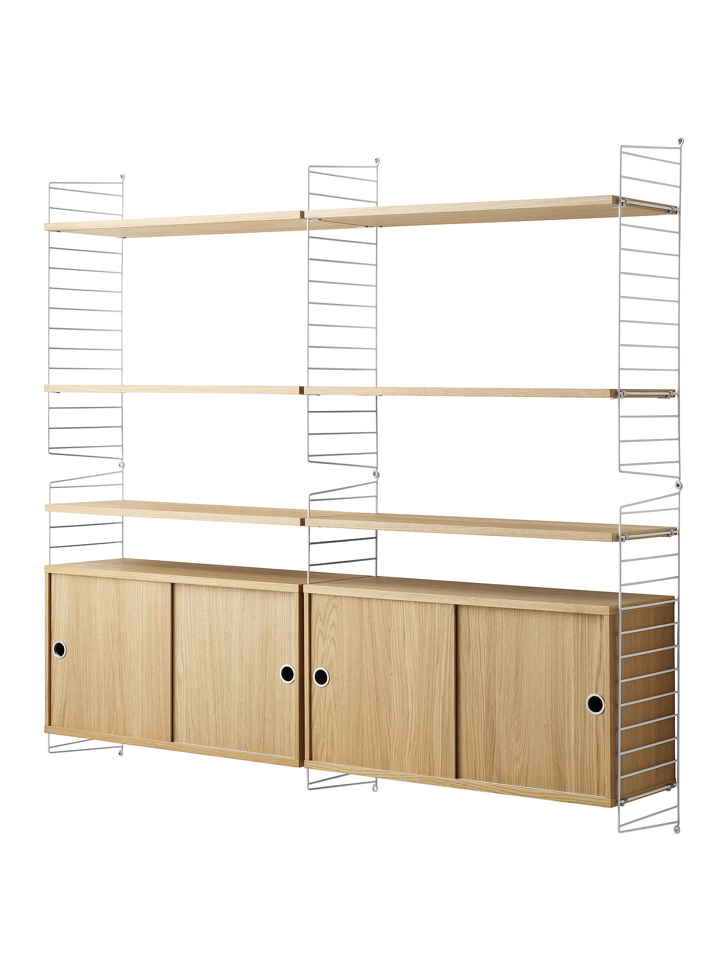 Brilliant String Shelving Unit With Double Cabinet And Wall Fastened Side Racks Oak White Home Interior And Landscaping Ferensignezvosmurscom