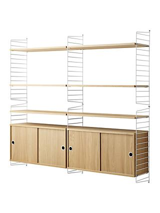 string Shelving Unit with Double Cabinet and Wall Fastened Side Racks, Oak/White