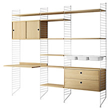 Buy string Living Room Shelving Unit with Drawers, Cabinet, Work Desk and Bowl Shelves, Floor Fastened, Oak / White Online at johnlewis.com