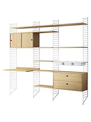 string Shelving Unit with Drawers, Cabinet, Work Desk, Bowl Shelves and Wall Fastened Side Racks, Oak