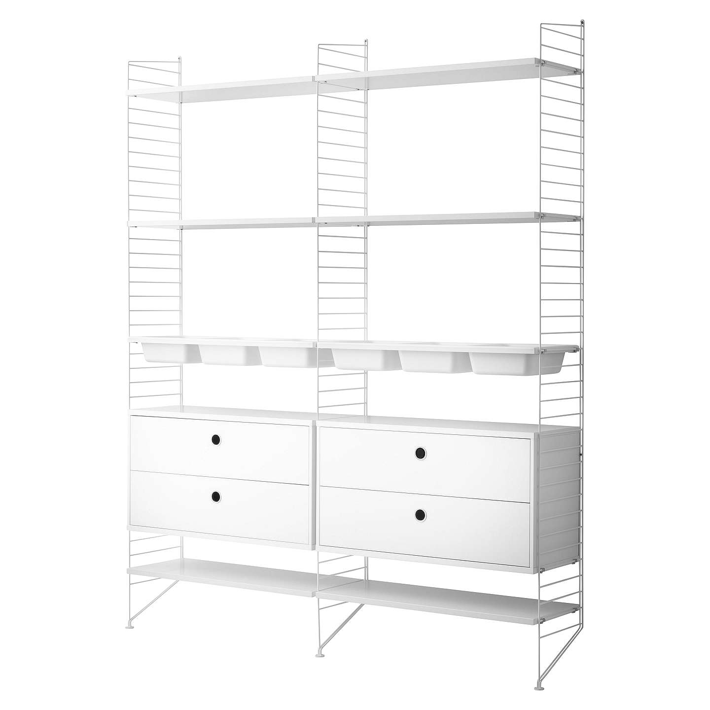 string Shelving Unit with 2 Drawer Chest 6 Shelves 3 Bowl Shelf