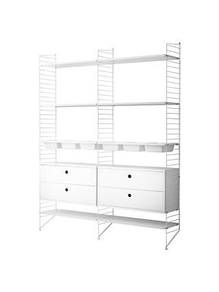 string Shelving Unit with 2 Drawer Chest, 6 Shelves, 3 Bowl Shelf and Wall Fastened Side Racks, White