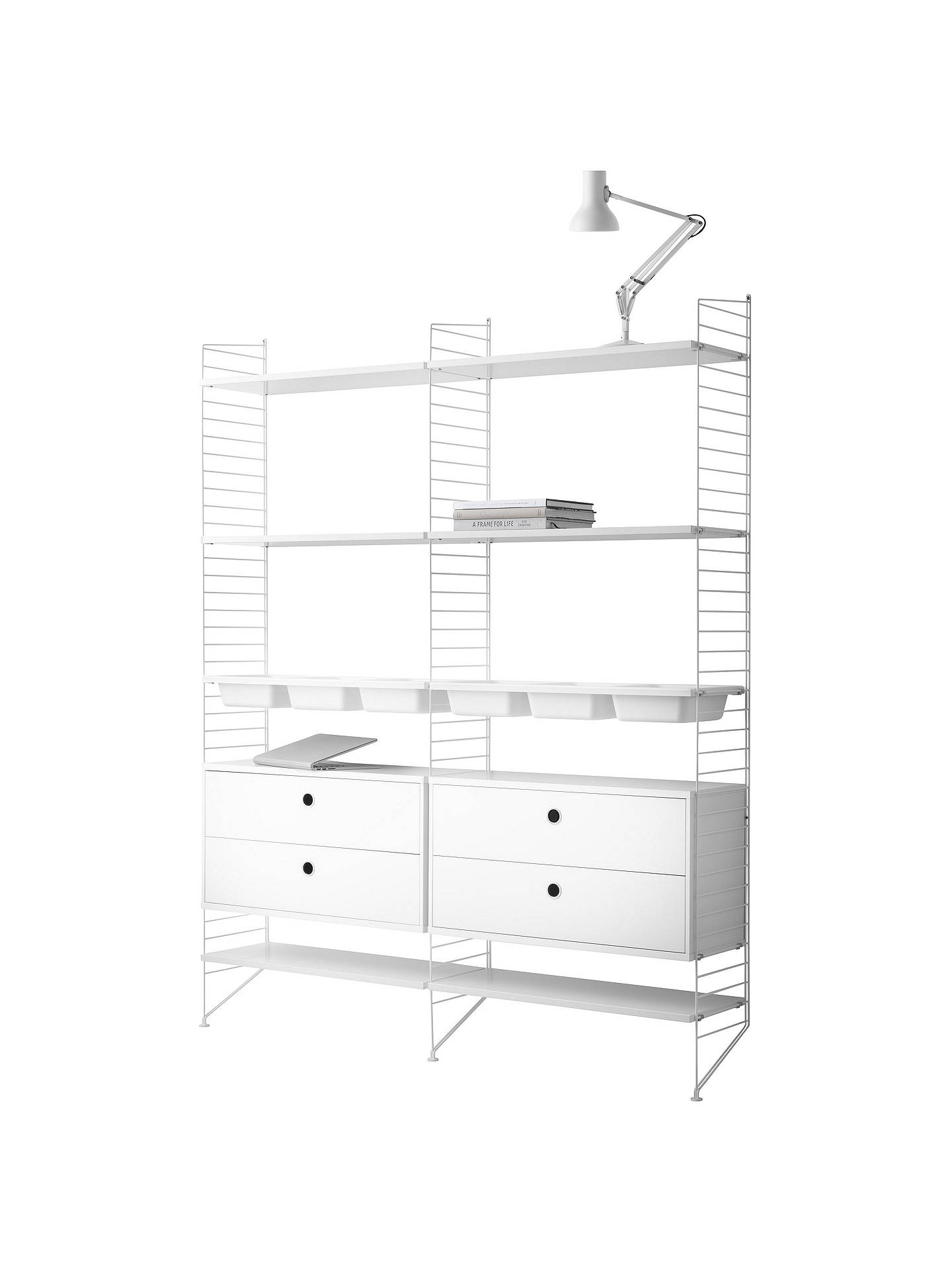 Buystring Shelving Unit with 2 Drawer Chest, 6 Shelves, 3 Bowl Shelf and Wall Fastened Side Racks, White Online at johnlewis.com