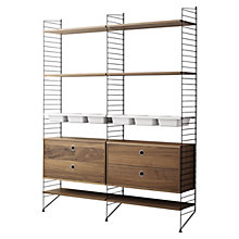 Buy string Shelving Unit with 2 Drawer Chest, 6 Shelves and 3 Bowl Shelf, Floor Fastened, Walnut / Black Online at johnlewis.com