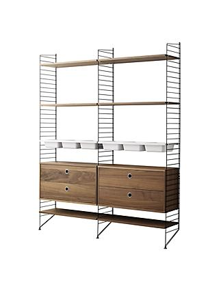 string Shelving Unit with 2 Drawer Chest, 6 Shelves, 3 Bowl Shelf and Wall Fastened Side Racks, Walnut / Black