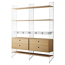 Buy string Shelving Unit with 2 Drawer Chest, 6 Shelves and 3 Bowl Shelf, Floor Fastened, Oak / White Online at johnlewis.com