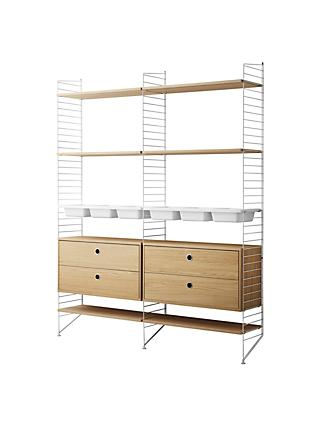 string Shelving Unit with 2 Drawer Chest, 6 Shelves, 3 Bowl Shelf and Wall Fastened Side Racks, Oak / White