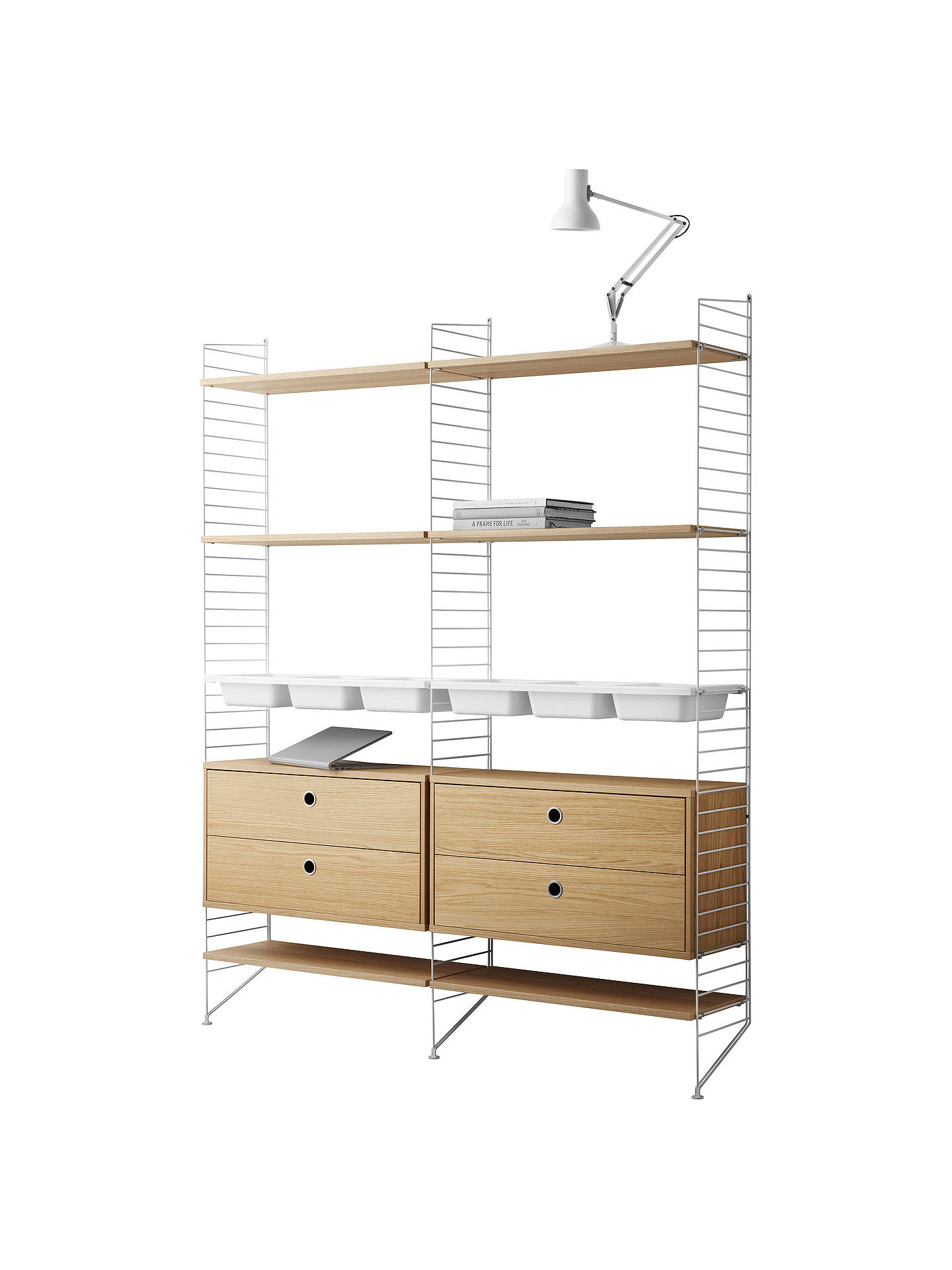Buystring Shelving Unit with 2 Drawer Chest, 6 Shelves, 3 Bowl Shelf and Wall Fastened Side Racks, Oak/White Online at johnlewis.com
