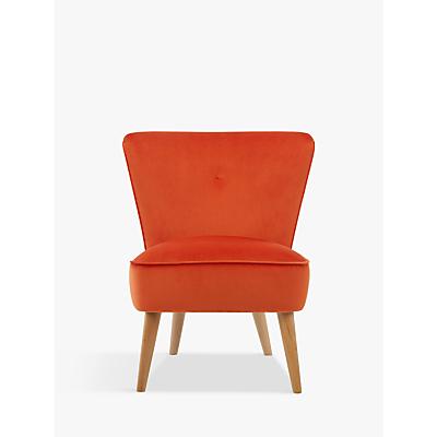 John Lewis Audrey Accent Chair, Light Leg, Velvet Orange