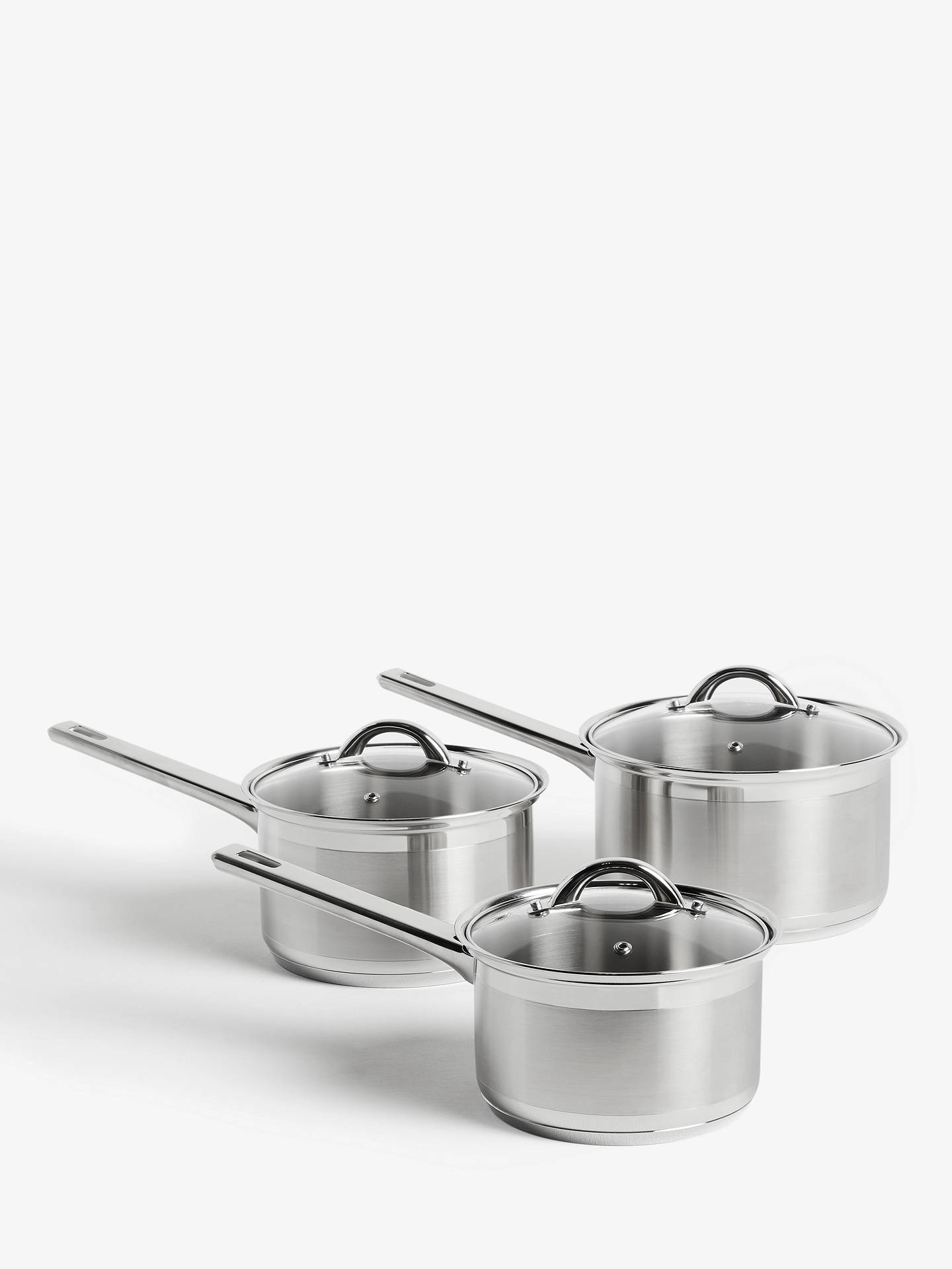 BuyJohn Lewis & Partners Classic Glass Lid Stainless Steel Saucepan Set, 3 Pieces Online at johnlewis.com