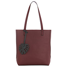 Buy Warehouse Leaf Charm Shopper Bag, Berry Online at johnlewis.com