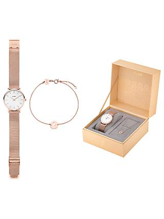 CLUSE Women's Bracelet Strap Watch and Chain Bracelet Gift Set