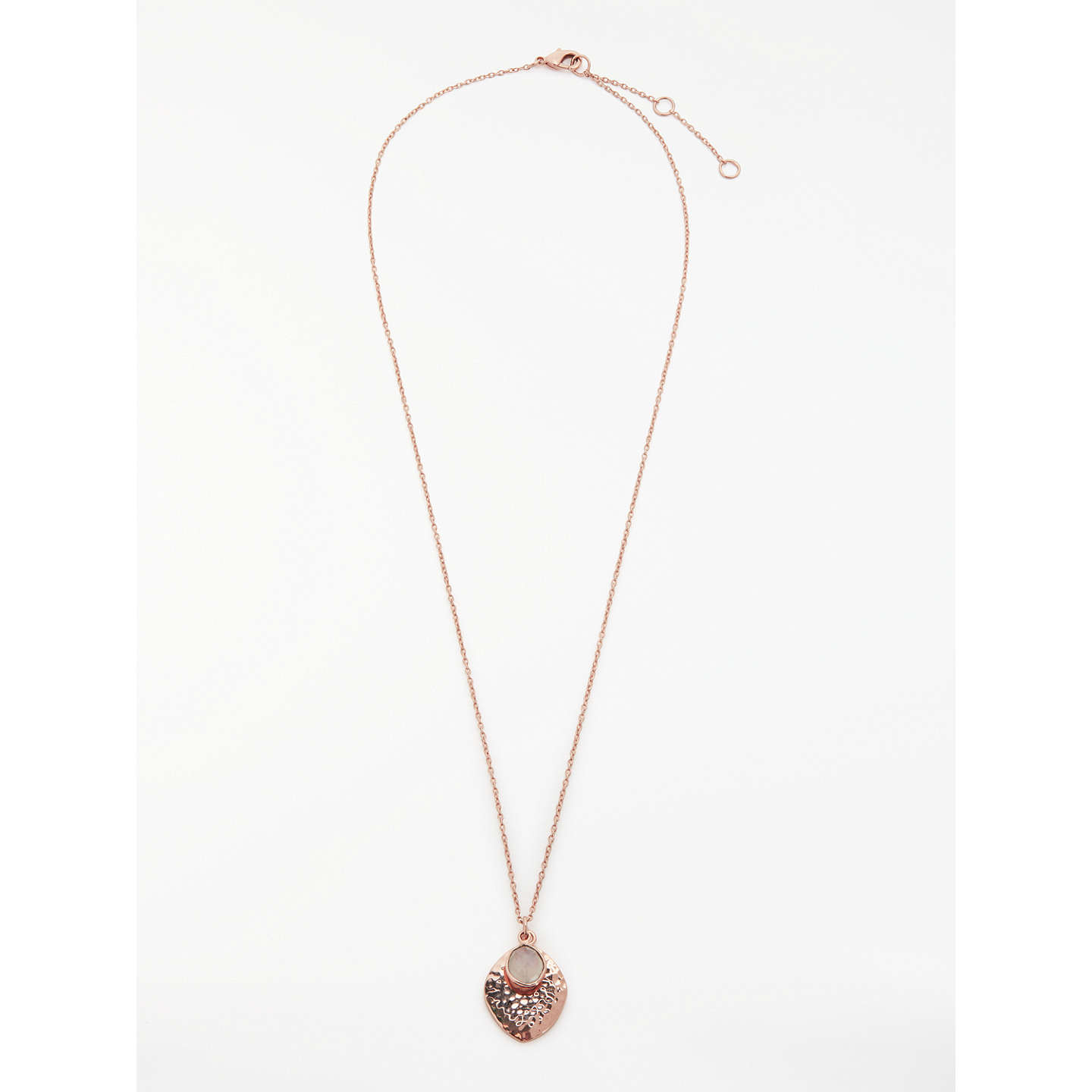 BuyJohn Lewis Semi-Precious Stone Hammered Disc Pendant Necklace, Rose Gold/Moonstone Online at johnlewis.com