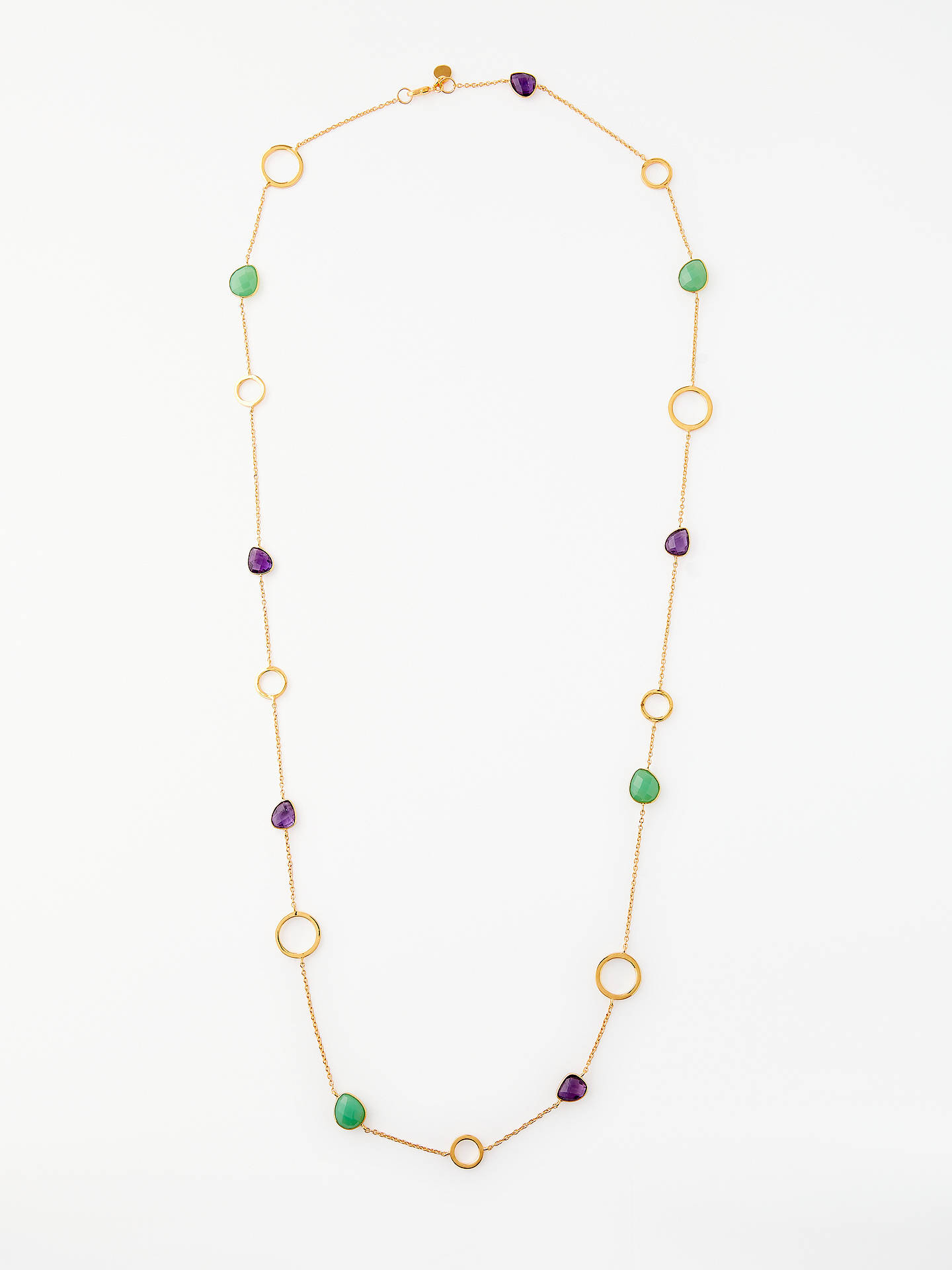 BuyJohn Lewis Semi-Precious Stone Long Chain Necklace, Gold/Chrysoprase Amethyst Online at johnlewis.com