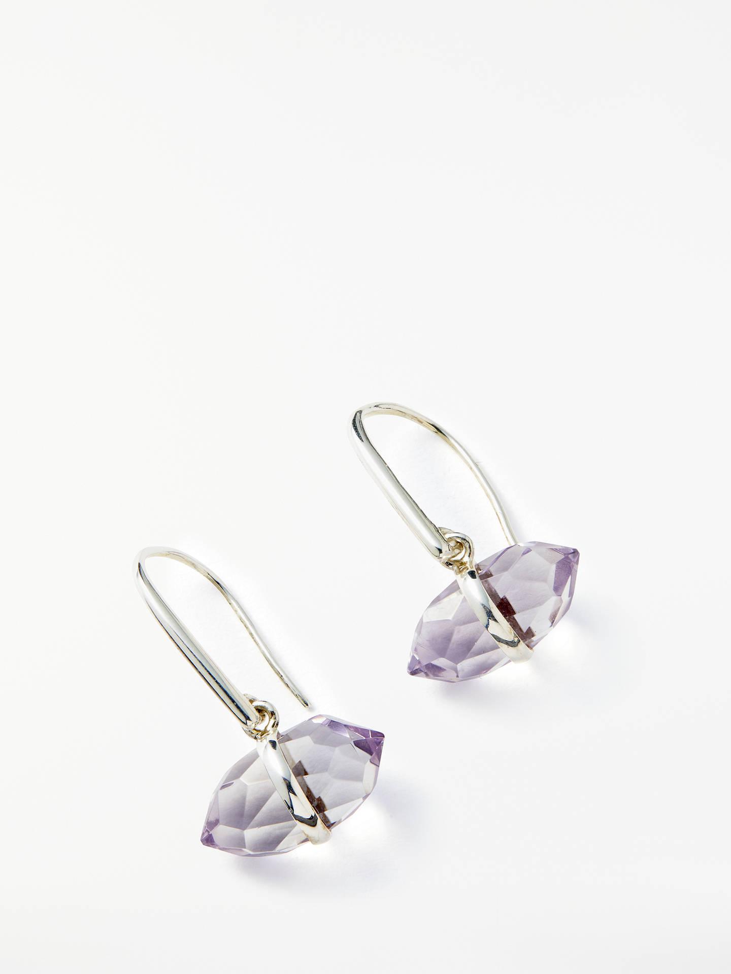 b4cbc7e37d7c Buy John Lewis Semi-Precious Stone Bar Hook Drop Earrings, Silver/Amethyst  Online ...