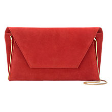 Buy Mint Velvet Millie Suede Clutch Bag, Red Online at johnlewis.com