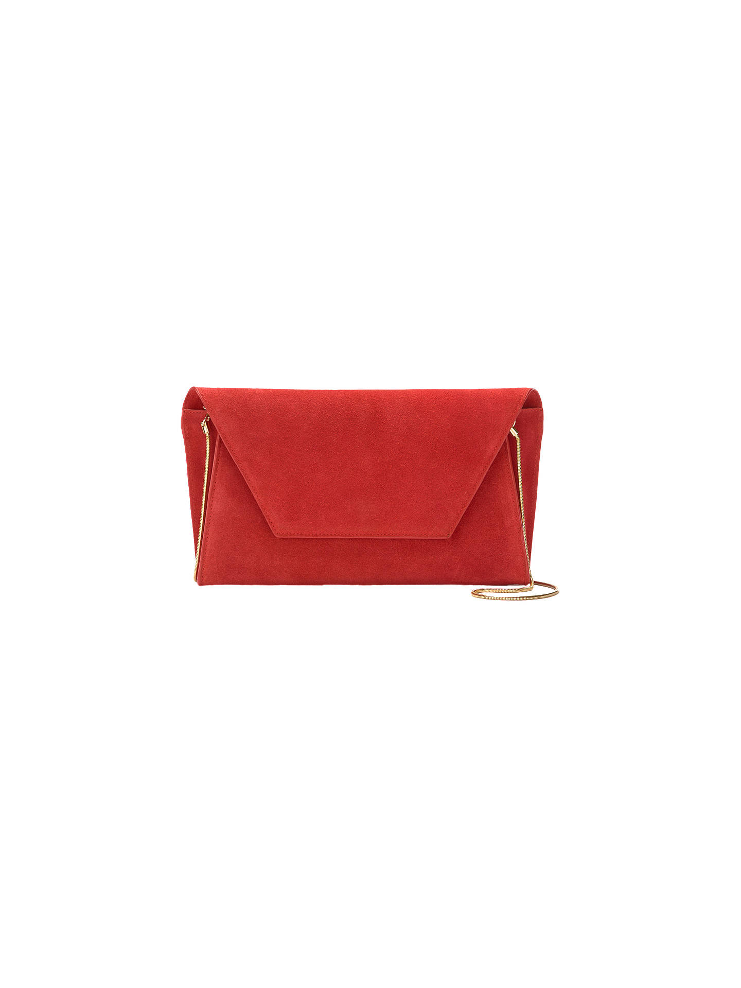 Mint Velvet Millie Suede Clutch Bag Red Online At Johnlewis