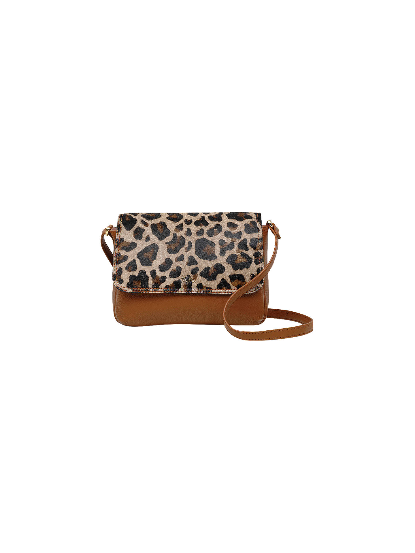b8390032b1f8 Buy Tula Faux Leopard Leather Small Flapover Cross Body Bag, Tan Online at  johnlewis.